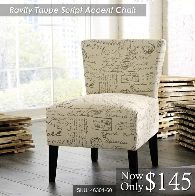 Ravity Taupe Script Accent Chair