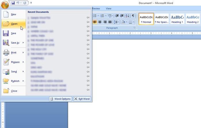 Opening File MS word 2007