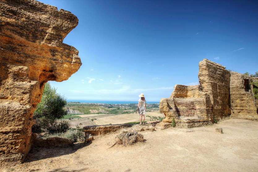Heather looking out over the Valley of the Temples in Agrigento, Sicily.