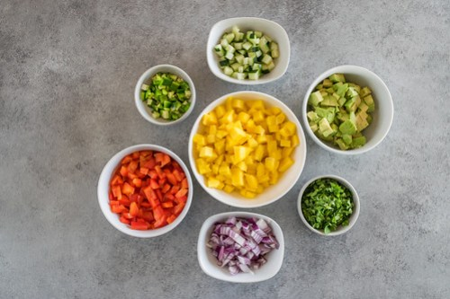 a rainbow of chopped ingredients