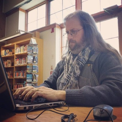 Writing at the Reinstein Library. #amwriting #overalls #vintage #Key #HickoryStripe #scarf #r2d2