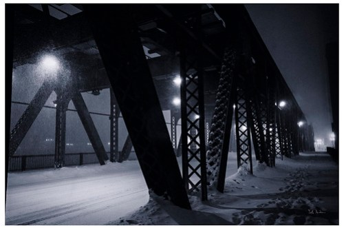 Lake Street Bridge During A Blizzard