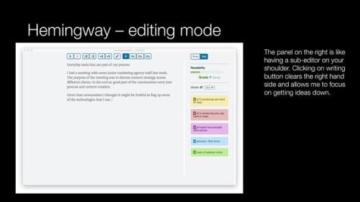 Hemingway - editing mode