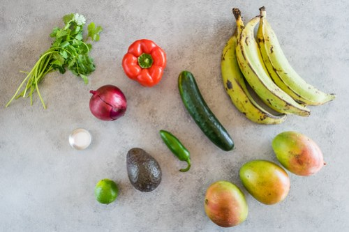 a tropical mix of sweet and spicy produce