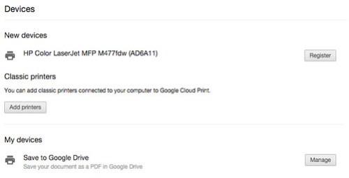 Google Cloud Print ก็เจอตัวพริ้นเตอร์