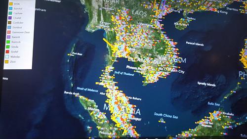 แผนที่โลกแสดงจำนวนเครื่องคอมพิวเตอร์ที่ติดมัลแวร์ชนิดต่างๆ ของไทยก็มีพุ่งโด่งอยู่