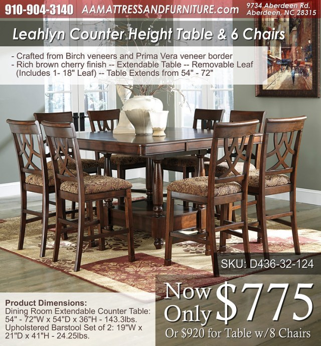 Leahlyn Counter Height Set 6 chairs WM