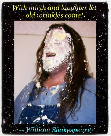 Good morning, world! It's April Fools Day, so celebrate laughter! #aprilfools #overalls #pieintheface