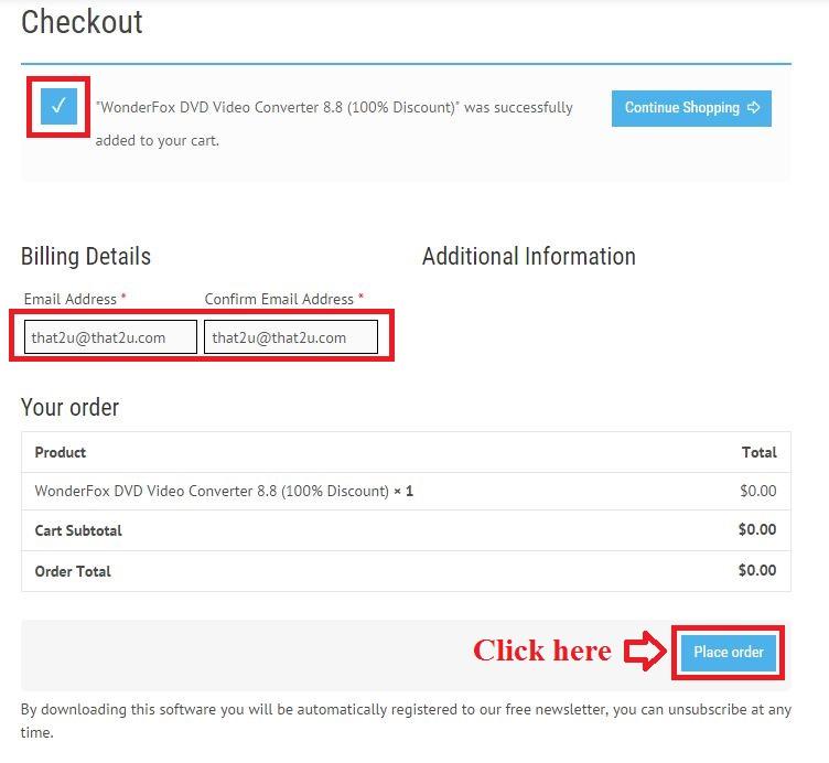Bản quyền miễn phí WonderFox DVD Video Converter 8.8 bước 3: nhập email
