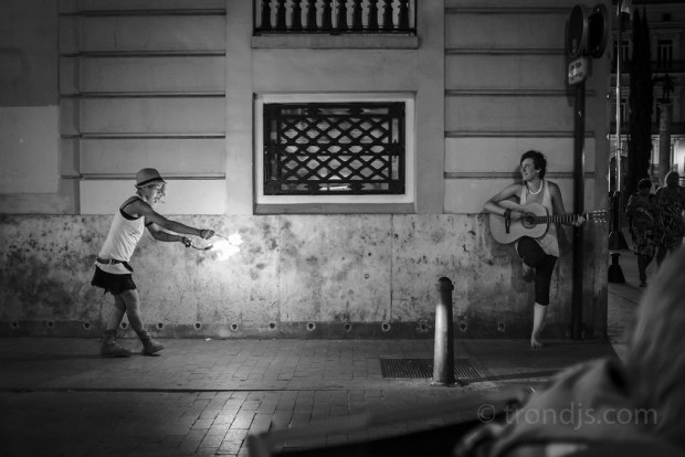 Street Artists, Fire and Guitar, Valencia, Summer 2014 - Street Photography (monochrome)