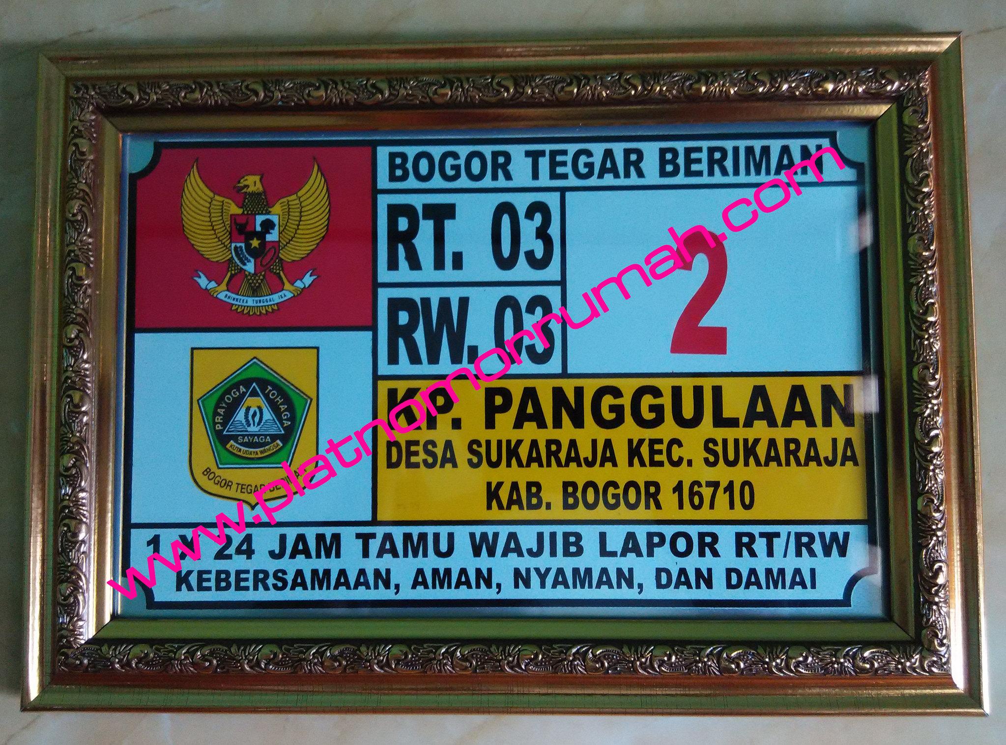 Plat Nomor Rumah Sukaraja Bogor