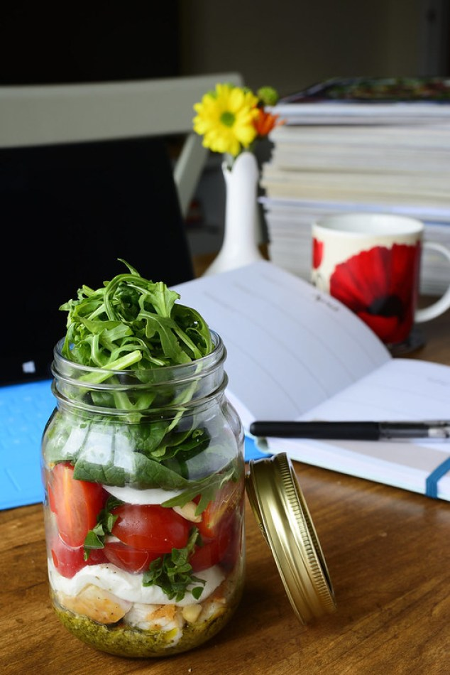 Caprese Salad with Chicken Greens in a Jar