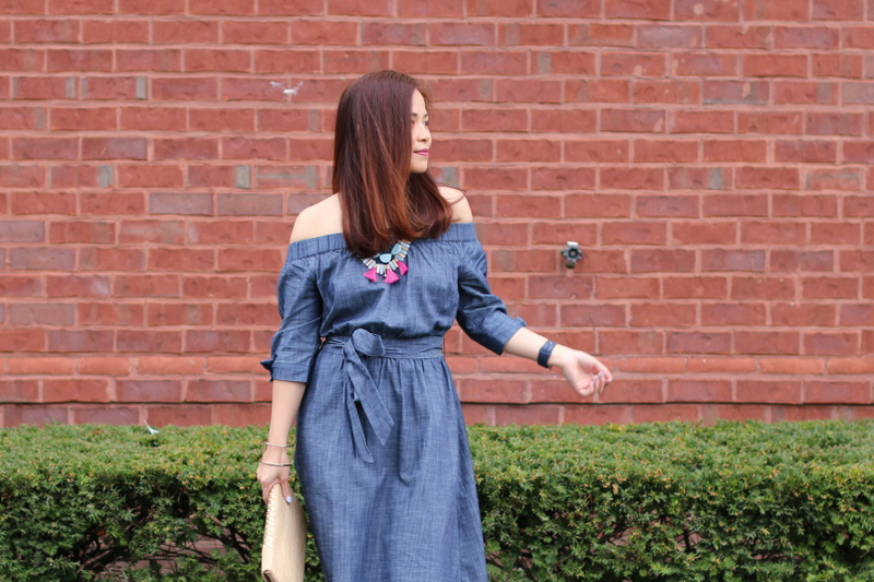 eShakti, chambray, off-shoulder, dress