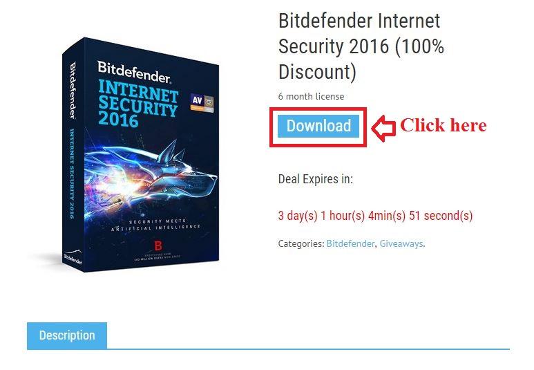 Bản quyền miễn phí Bitdefender Internet Security 2016 bước 2: click download