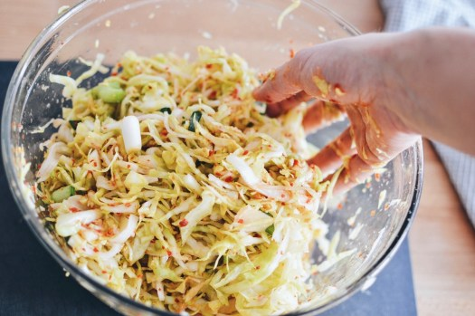 Chopped cabbage, green onion and daikon mixed with chili paste.