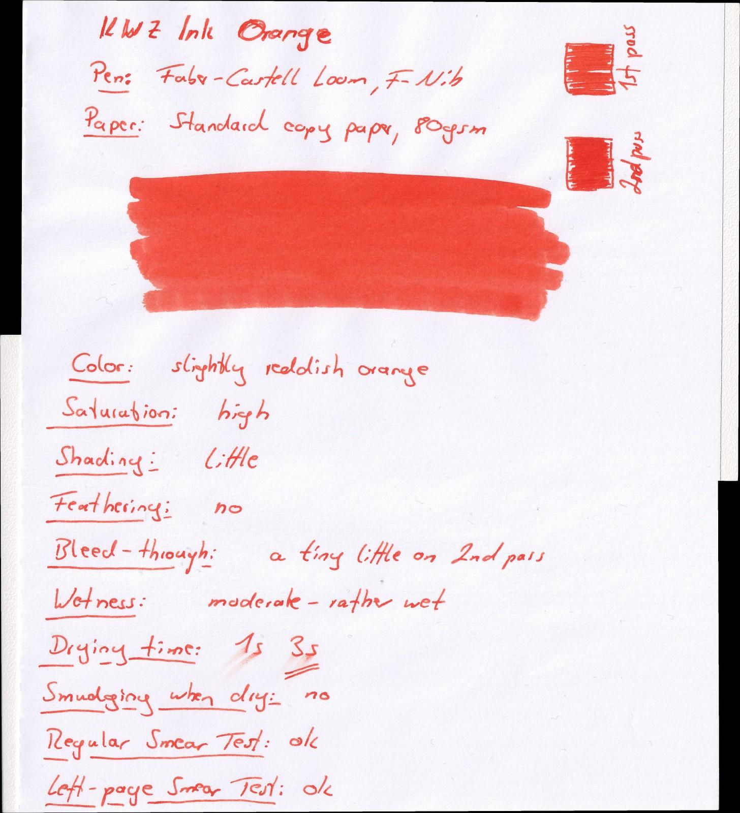 KWZ Ink Orange on standard copy paper