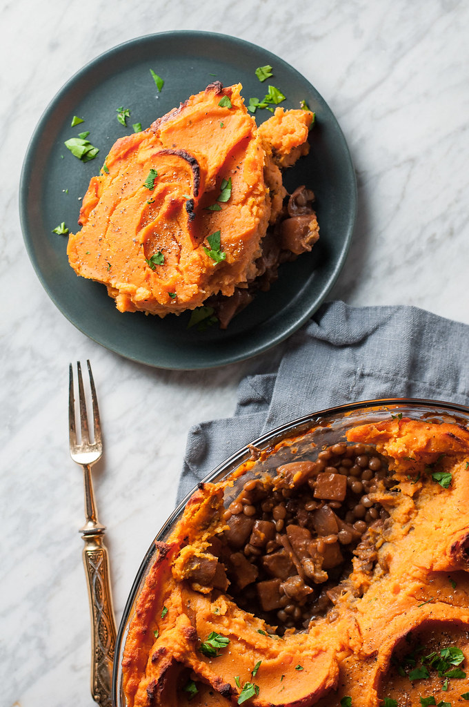 Vegetarian sweet potato shepherd's pie filled with satisfying lentils and seasonal vegetables simmered in silky red wine sauce.