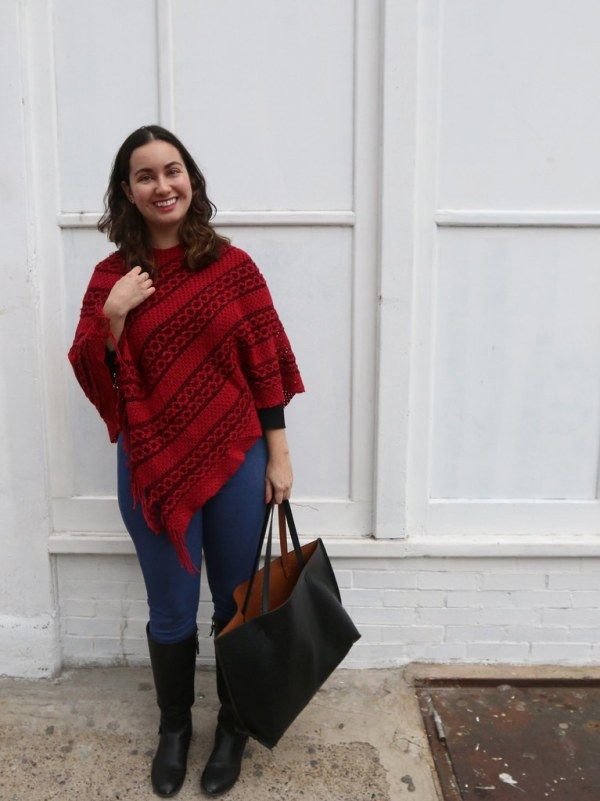 Red Knit Poncho with Jeans | Shades of Sarah