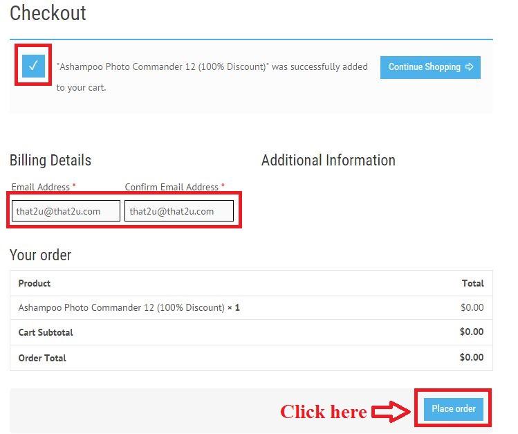 Bản quyền miễn phí Ashampoo Photo Commander 12 bước 3: nhập email