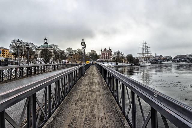 stockholm, boat, bridge