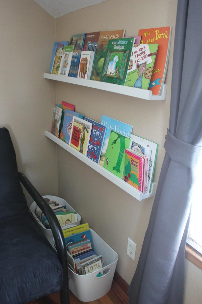 Book shelves and book bins