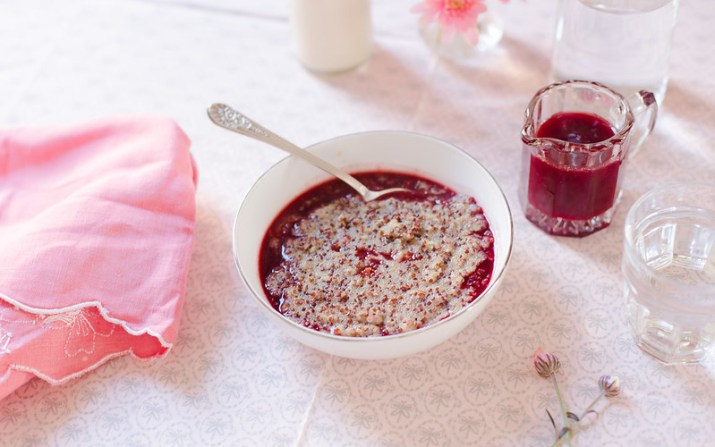 Amaranth and Quinoa with Blood Orange Syrup