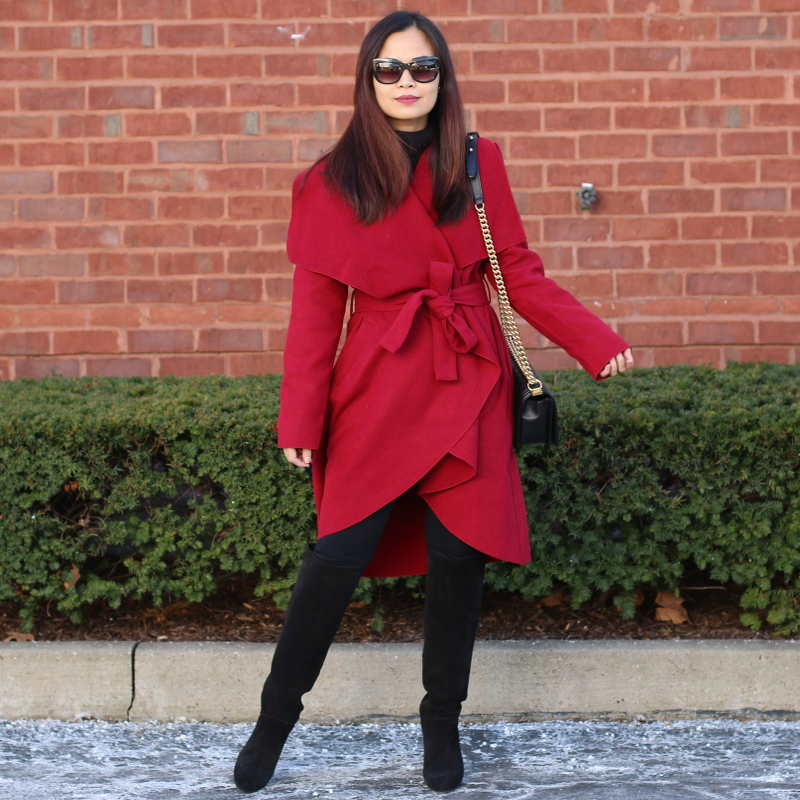 shein red bow coat