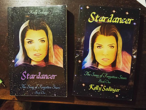 "Day 5 of #AuthorLifeMonth! I'm not sure what ""comp covers"" means, but it seems to be 'rough drafts' for covers. Left is the first cover design for STARDANCER, and on right is the final design. #books #amwriting"
