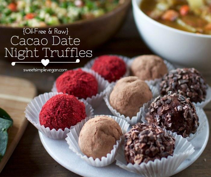Vegan Valentine's Day - Cacao Date Night Truffles | consciouschris.net // sweetsimplevegan.com