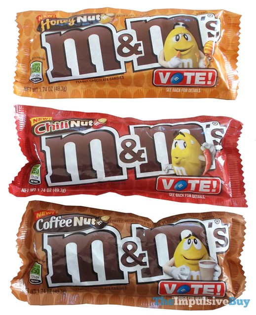 Coffee Nut, Honey Nut, and Chili Nut M&M's (M&M's Flavor Vote)