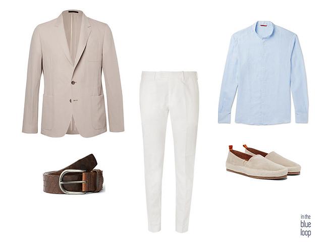 Look smart-casual para hombre con blazer beige, pnatalón de vestir blanco, cinturón de cuero marrón para hombre, alpargatas y camisa azul