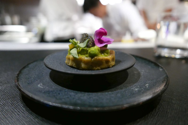 Sope (Corn Cake) - Heirloom black masa, spring peas (Lacopi Farms, Half Moon Bay CA),  Paddlefish caviar