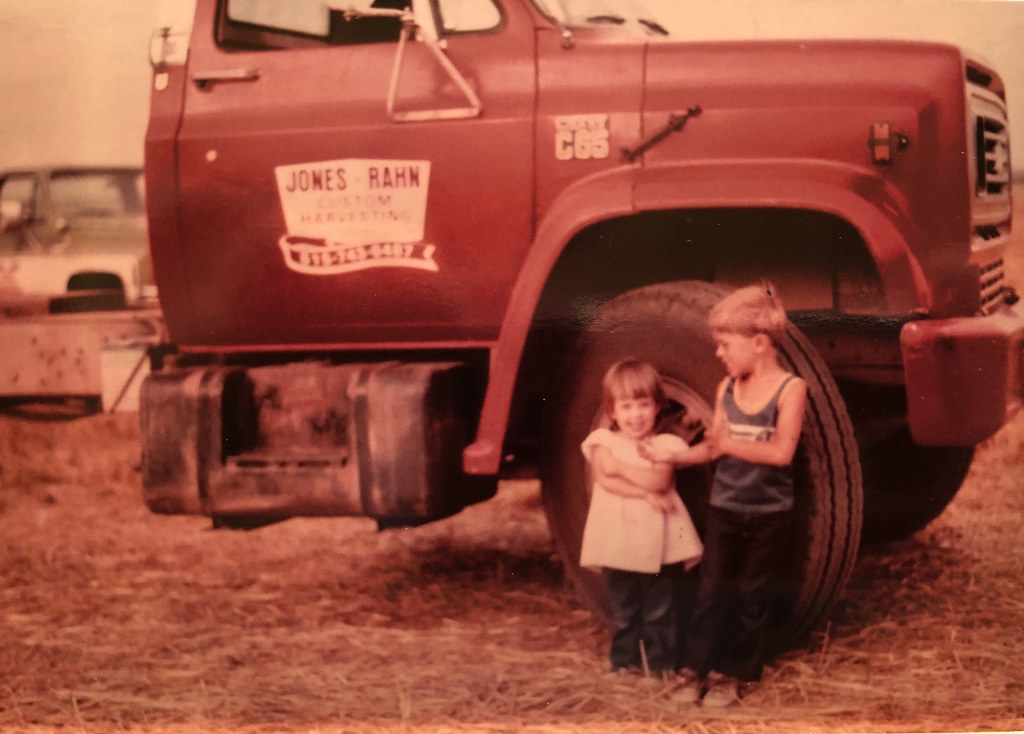 Me and my sister Brenda in 1983, or first wheat harvest run