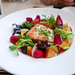 Herb Roasted Halibut, Beet Salad, Endive, Radish, Kumquat, Raspberry, Meyer Lemon Vinaigrette, Shaved Carrot, Chervil ($25)