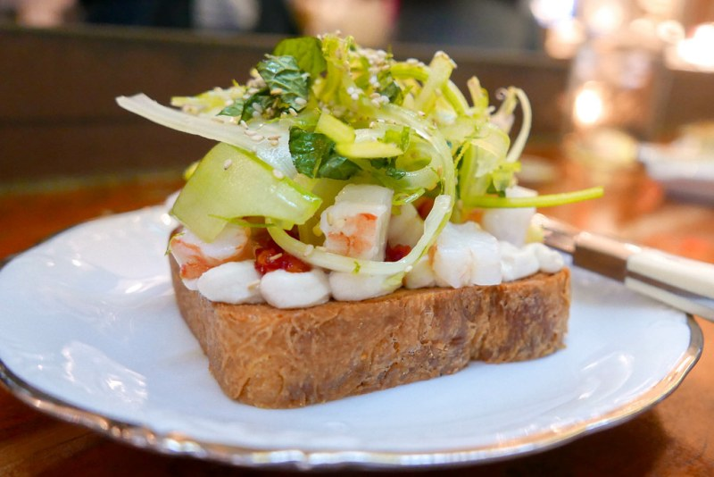 Shrimp Toast, housemade brioche, fresno jam, celery ($15)
