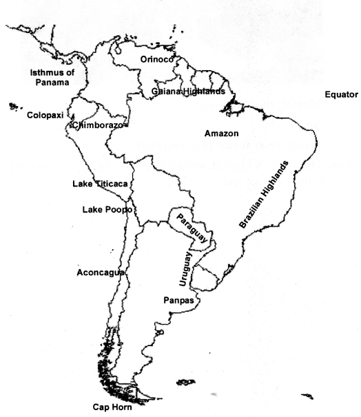 ICSE Solutions for Class 6 Geography Voyage - South America Location, Area, Political and Physical Features 7