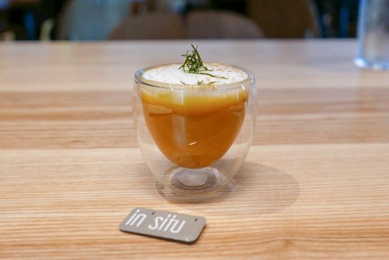 Caramelized Carrot Soup, coconut foam, chaat masala | Nathan Myhrvold, Modernist Cuisine | Bellevue, Washington, 2011