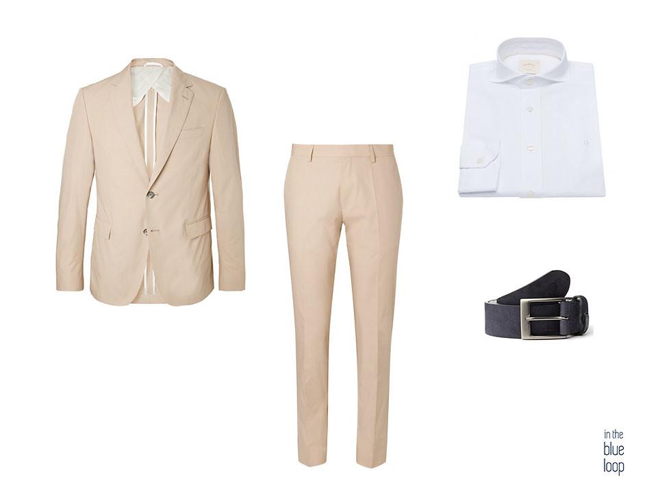 Traje para hombre beige con camisa blanca y cinturón igara de blue hole