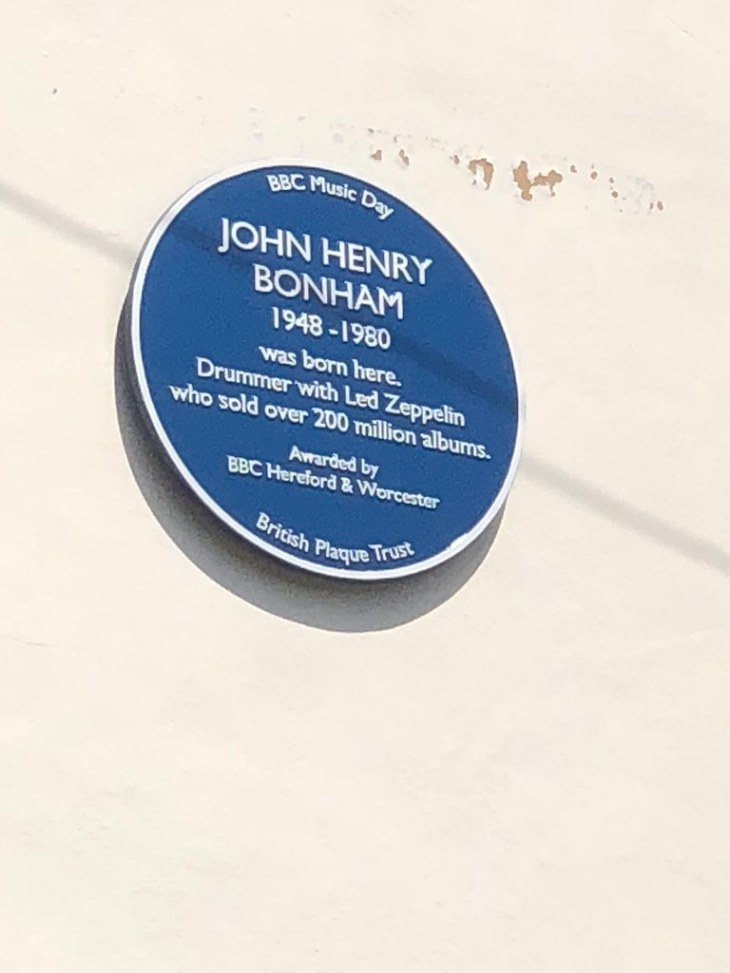 The John Bonham Blue Plaque on Birchfield Road in Headless Cross, Redditch, Worcestershire