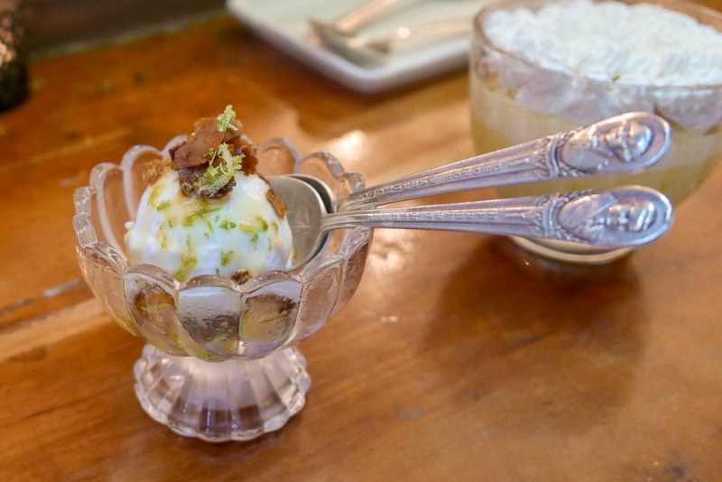 Coconut Milk Ice Cream, burnt coconut, lime, kiwi ($11)