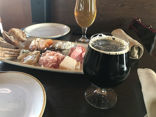 meat and cheese board plus beer at Stone Brewing