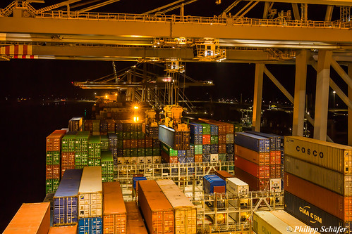 Changing Containers at Midnight (CMA CGM Alexander von Humboldt, Ultra Large Container Vessel)