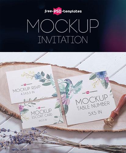 Free Invitation Mock-up in PSD