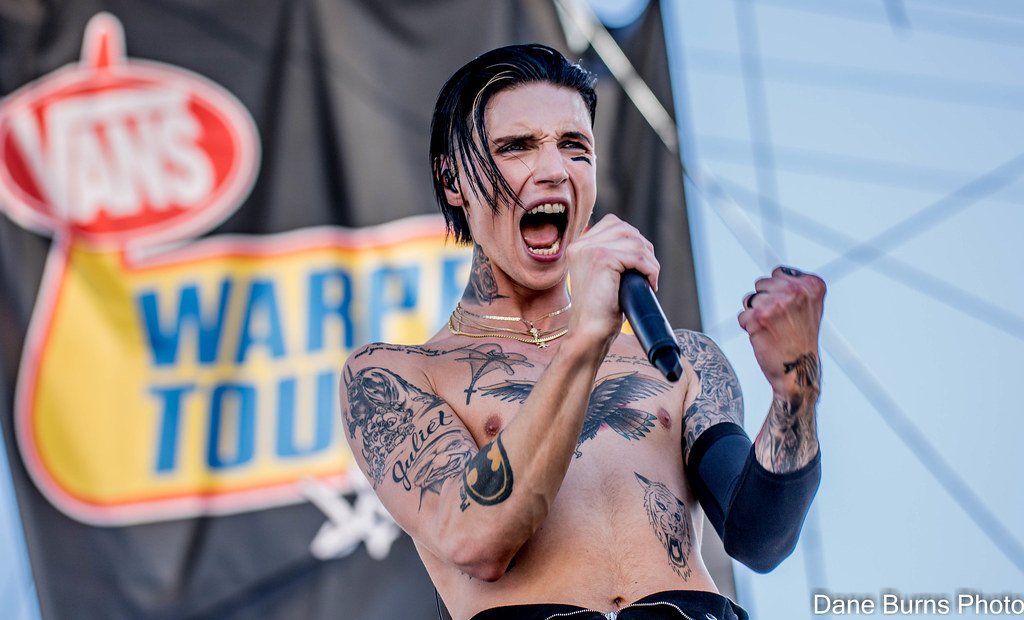 Andy Biersack of Black Veil Brides performing at Vans Warped Tour at Downtown Las Vegas Events Center on June 29th 2018