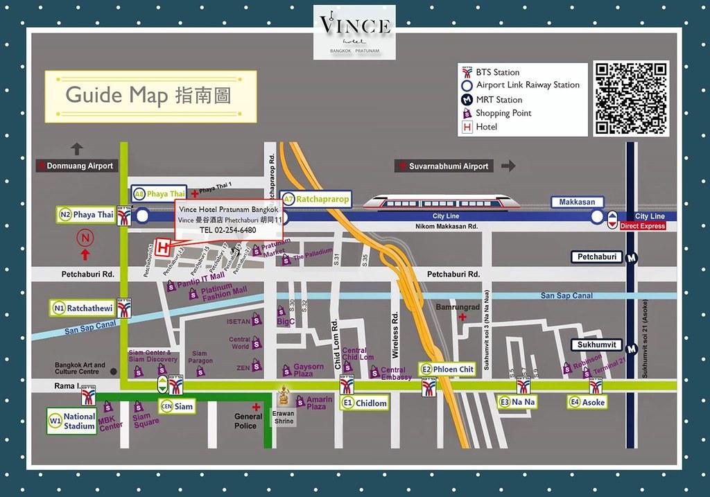 Vince Hotel Bangkok Pratunam Map