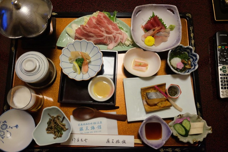 Fujisan ryokan dinner set with remote