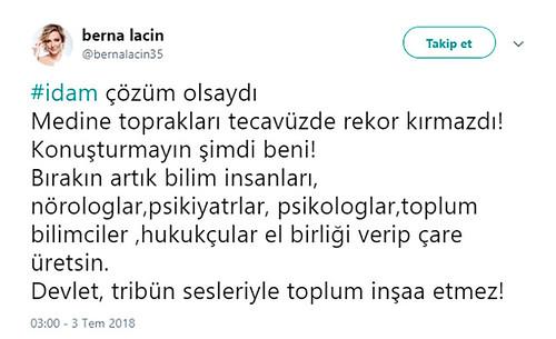 Berna Laçin'in tecavüzle ilgili sözlerine soruşturma başlatıldı