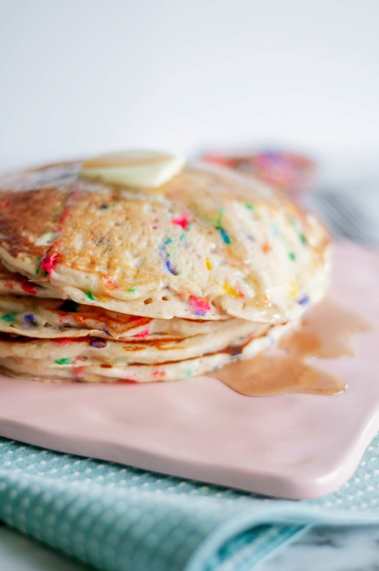 Funfetti Pancakes are a fun way to celebrate something special or brighten that Monday mood. Packed full of sprinkles and cake batter goodness.
