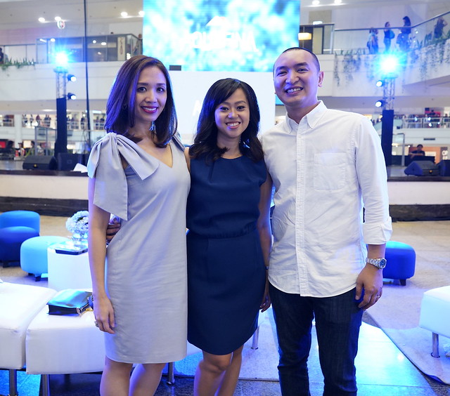 Aquafina Brand Team (L-R) Gutzee Segura- Acting Brand Manager for Aquafina, Melai Lazaro-Javier, Brand Manager for Aquafina, Mikey Rosales- Marketing Director for Food & Beverages at Pepsi Co.