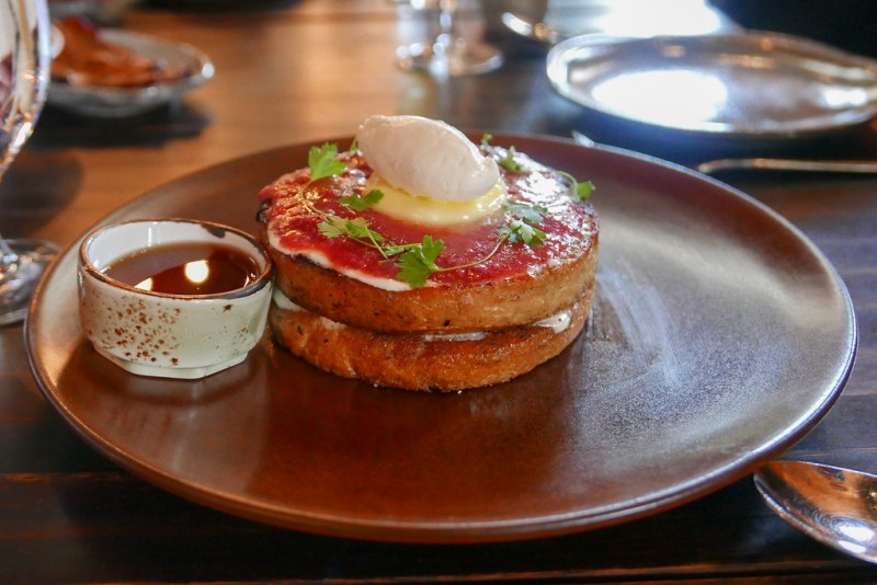 Lavender French Toast, Strawberry jam, lemon, cultured butter, creme fraiche $12